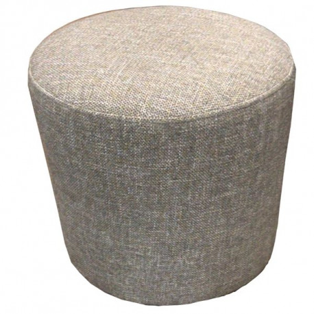 Pouf rond tissu couleur taupe