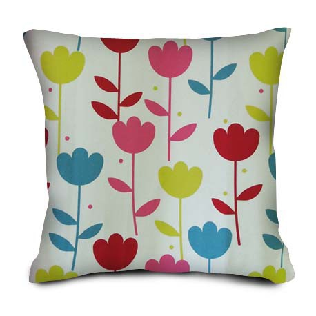 Coussin Tulipes multicolores